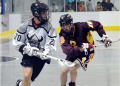Orangeville's Adam Charalambides looks for an opening in front of the net during Tuesday (July 26) night's opening game in the semi-final round of playoffs between the Junior A Northmen and the Brampton Excelsiors. The Northmen came out on top winning 10-7 in game one.