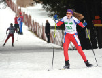 ODDS Bears Nordic ski team member, Jillian Strutt, crosses the finish line during Mono Nordic Ski Club's annual invitational meet. Despite the warm temperatures over the weekend there was still a lot of snow on the trails for the Saturday, January 21, event.