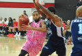 Orangeville A's forward Rahlir Hollis-Jefferson powers past a Halifax Hurricanes defender during Sunday's (Feb. 19) NBLC game at the Athlete Institute.  The A's came up short this time taking a 108-101 loss to the Halifax team.