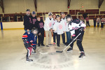 The annual Jennifer Widbur Memorial Hockey Tournament took place at the Honeywood arena on Friday and Saturday, April 7-8. The tournament, now in its tenth year, raises funds for several local causes. Quinn and Logan DeLaat, drop the puck at the ceremonial face-off to start the tournament, along with Mike DeLaat, Al Widbur, Elaine Robinson, and Carey Widbur.